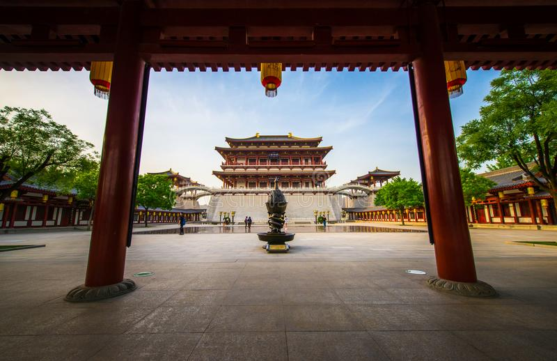 Tang dynasty garden in xi `an, China. The magnificent classical architecture of the tang dynasty in China, in quiet time stock photography