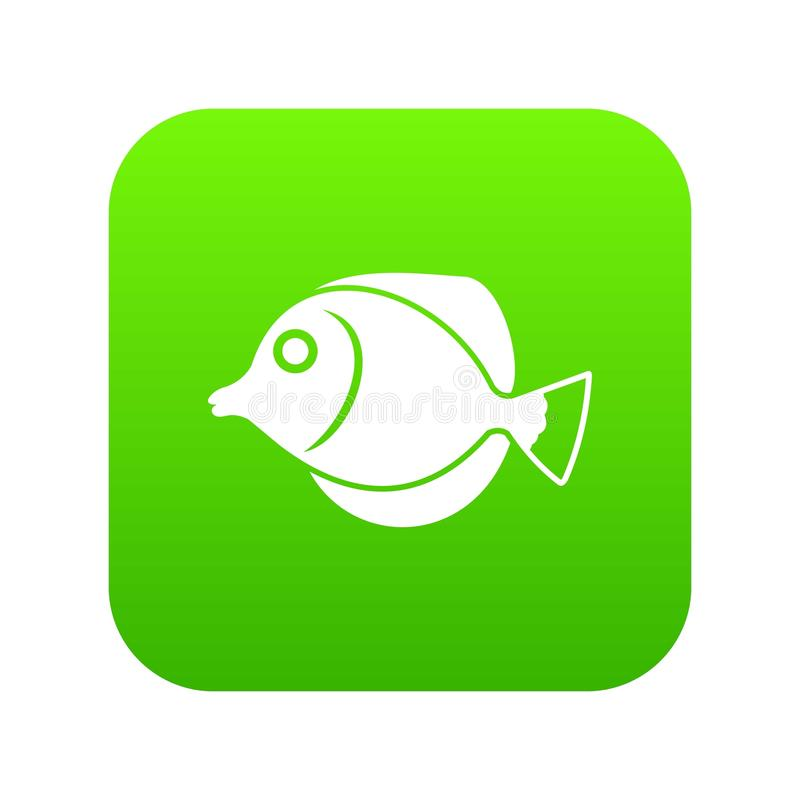 Tang fish, Zebrasoma flavescens icon digital green. For any design isolated on white vector illustration stock illustration