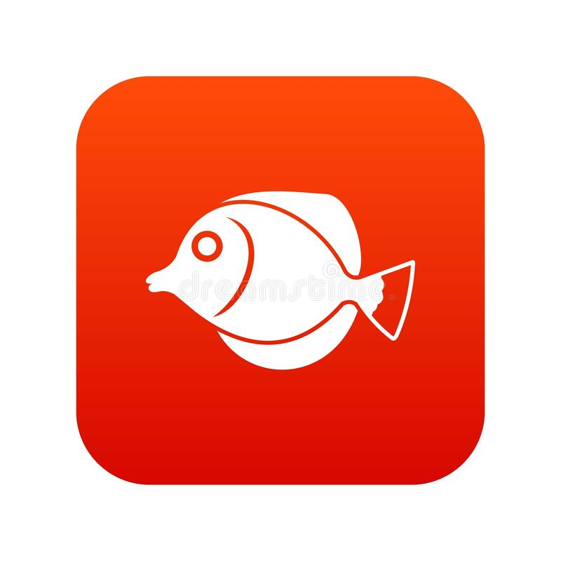 Tang fish, Zebrasoma flavescens icon digital red. For any design isolated on white vector illustration vector illustration
