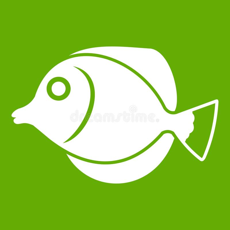 Tang fish, Zebrasoma flavescens icon green. Tang fish, Zebrasoma flavescens icon white isolated on green background. Vector illustration royalty free illustration