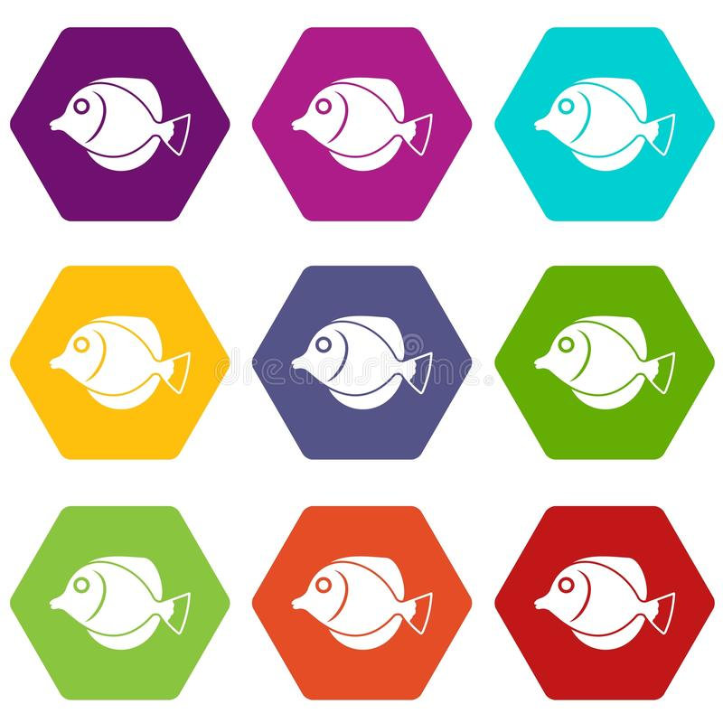 Tang fish, Zebrasoma flavescens icon set color hexahedron. Tang fish, Zebrasoma flavescens icon set many color hexahedron isolated on white vector illustration stock illustration