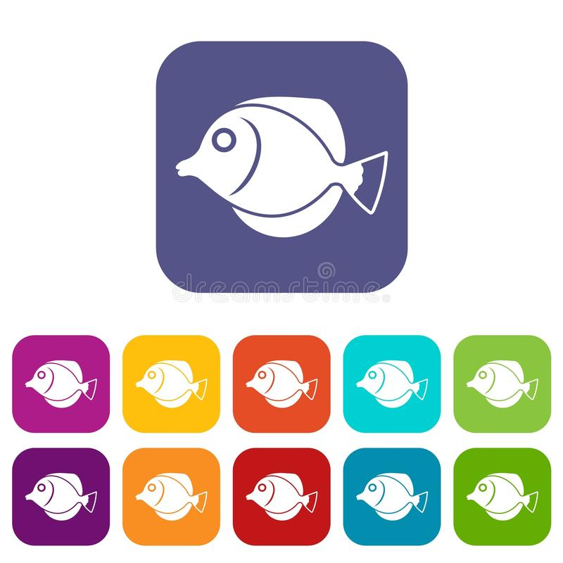 Tang fish, Zebrasoma flavescens icons set. Vector illustration in flat style in colors red, blue, green, and other royalty free illustration