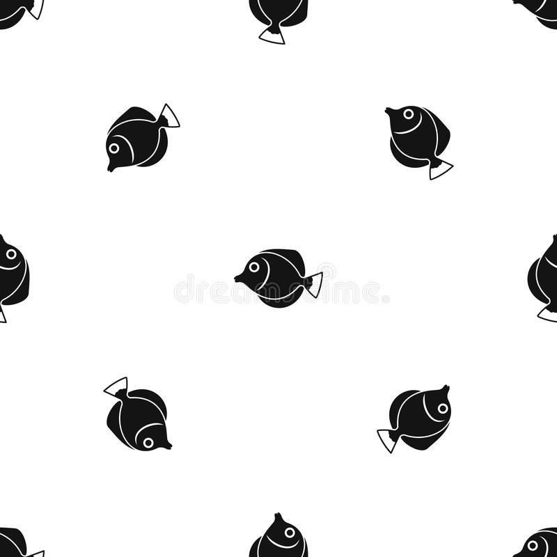 Tang fish, Zebrasoma flavescens pattern seamless black. Tang fish, Zebrasoma flavescens pattern repeat seamless in black color for any design. Vector geometric vector illustration