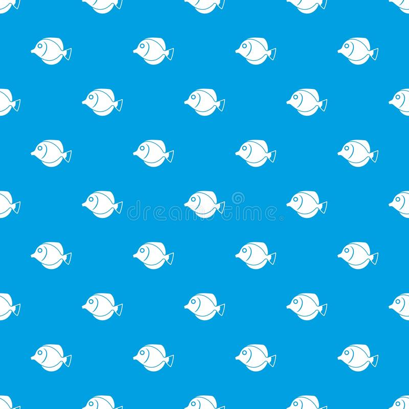 Tang fish, Zebrasoma flavescens pattern seamless blue. Tang fish, Zebrasoma flavescens pattern repeat seamless in blue color for any design. Vector geometric stock illustration