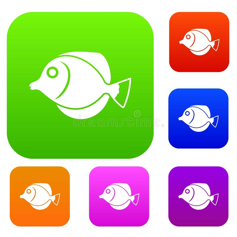 Tang fish, Zebrasoma flavescens set collection. Tang fish, Zebrasoma flavescens set icon in different colors isolated vector illustration. Premium collection vector illustration