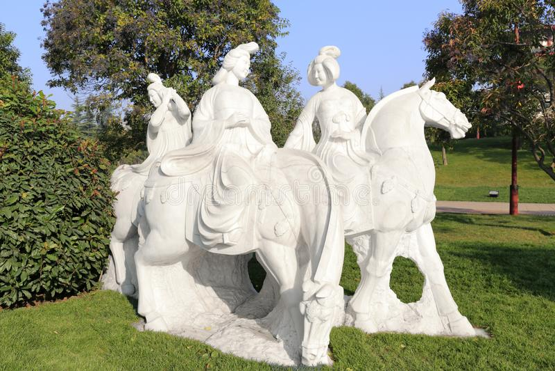 Tang-Frauen Reiterstatue, luftgetrockneter Ziegelstein rgb stockfoto