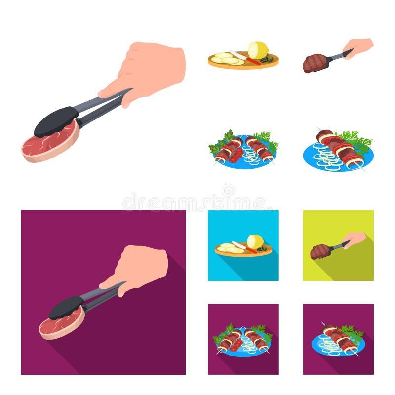 Tang met lapje vlees, gebraden vlees op een lepel, snijdende citroen en olijven, kebab op een plaat met groenten Voedsel en royalty-vrije illustratie