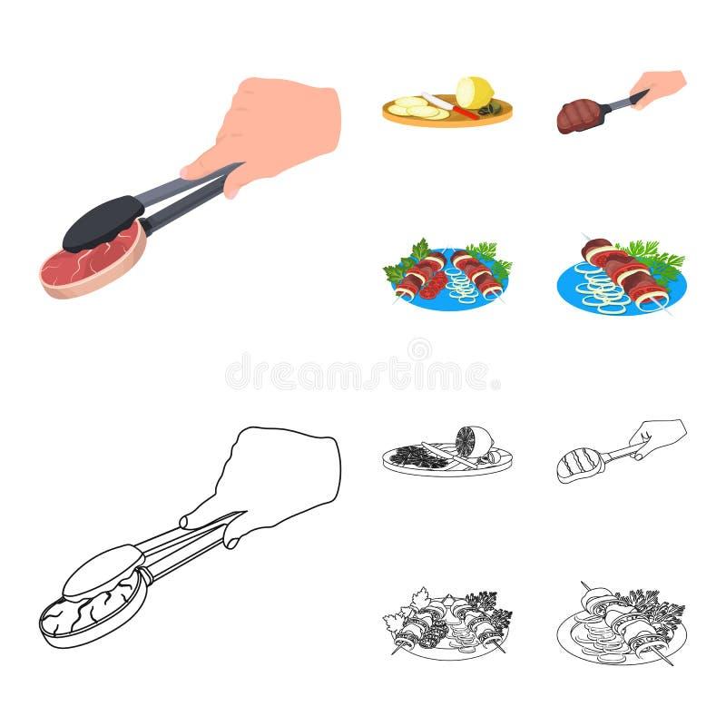 Tang met lapje vlees, gebraden vlees op een lepel, snijdende citroen en olijven, kebab op een plaat met groenten Voedsel en stock illustratie