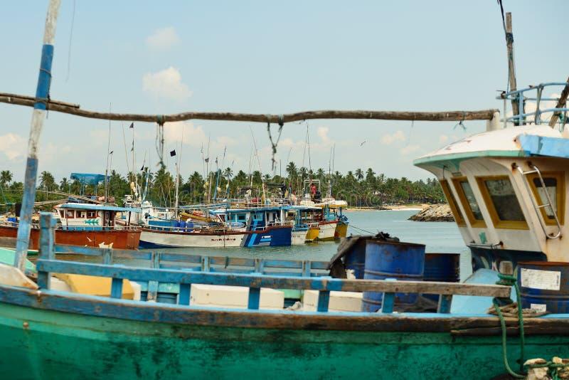 Tangalle fishing harbour in Sri Lanka stock image