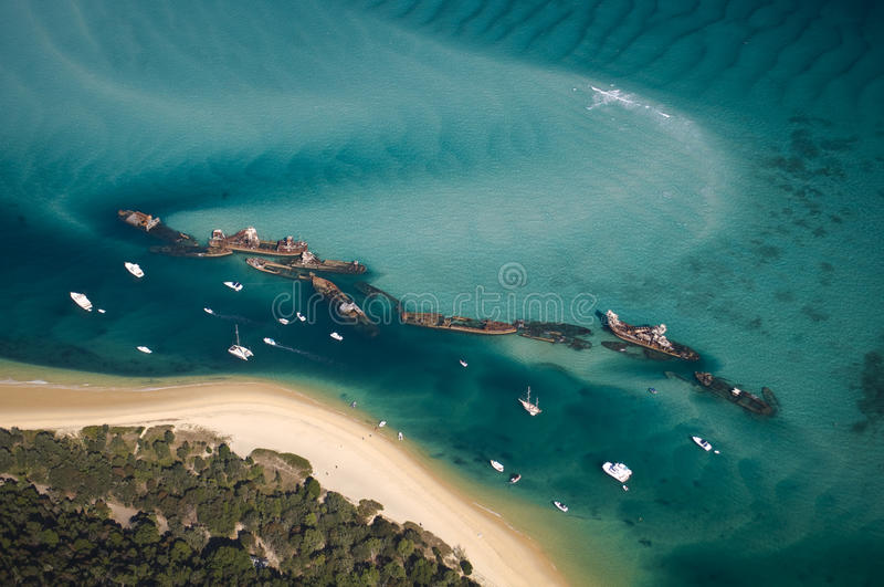 Download Tangalooma Shipwrecks stock photo. Image of beach, aerial - 10575074