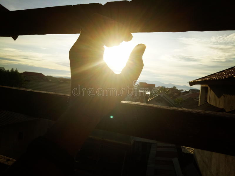 Tangan solnedgång arkivfoton