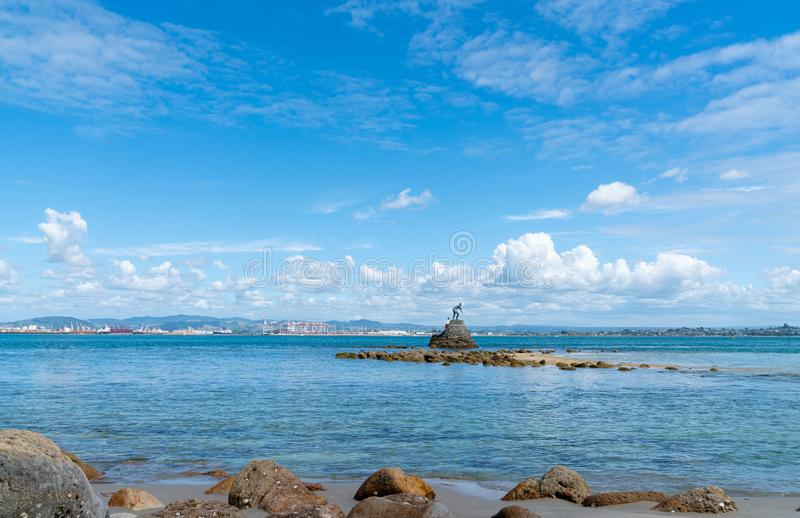 Tangaroa, Mythical God of Ocean bronze statue guarding entrance to Tauranga Harbour royalty free stock photography