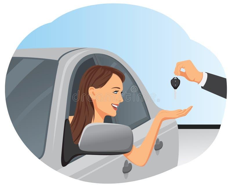 Tangent av den nya bilen stock illustrationer