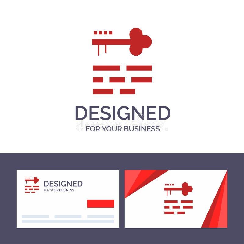 Tangent för idérik mall för affärskort och logo, lås, orientering, inloggningsvektorillustration royaltyfri illustrationer
