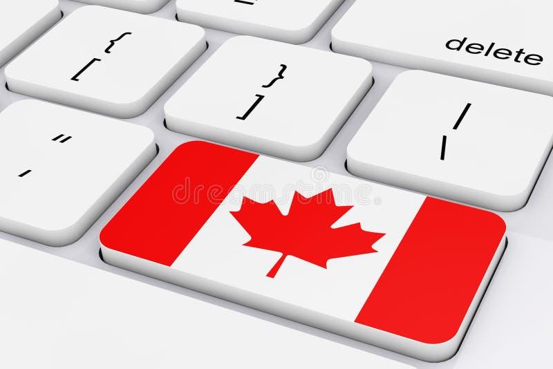 Tangent med den Kanada flaggan på ett vitt PCtangentbord framförande 3d vektor illustrationer