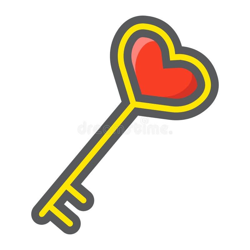 Tangent med fyllda översiktssymbolen för hjärta den form royaltyfri illustrationer