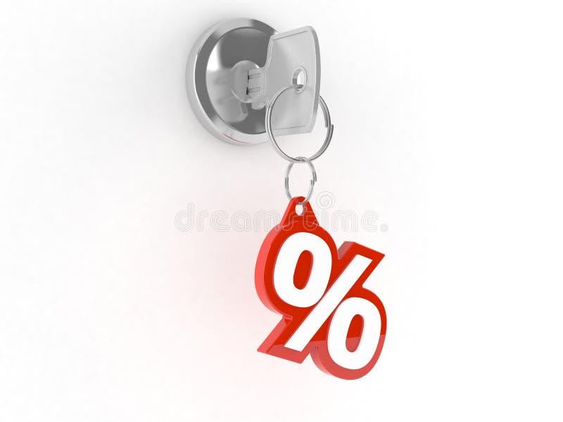 Tangent med procentsymbol royaltyfri illustrationer