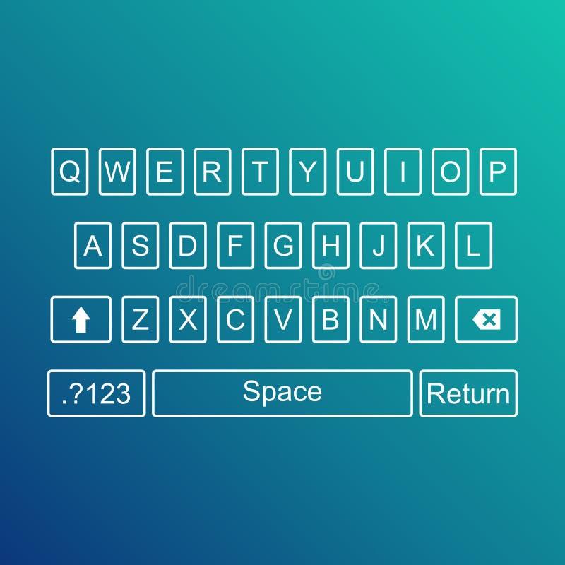 Tangentbord av smartphonen, alfabetknappar QWERTY vektorillustration stock illustrationer