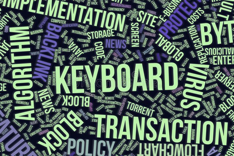 Tangentbord, begreppsmässigt ordmoln för affär, informationsteknik eller IT royaltyfri illustrationer