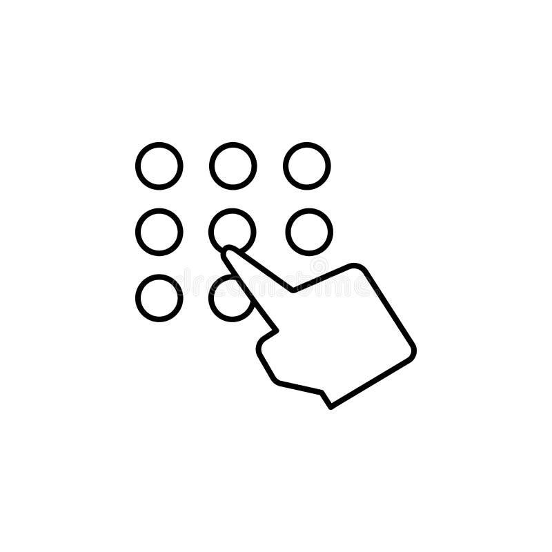 Tangentbord block, telefon, fingersymbol Beståndsdel av korruptionsymbolen G?r linjen symbol p? vit bakgrund tunnare stock illustrationer
