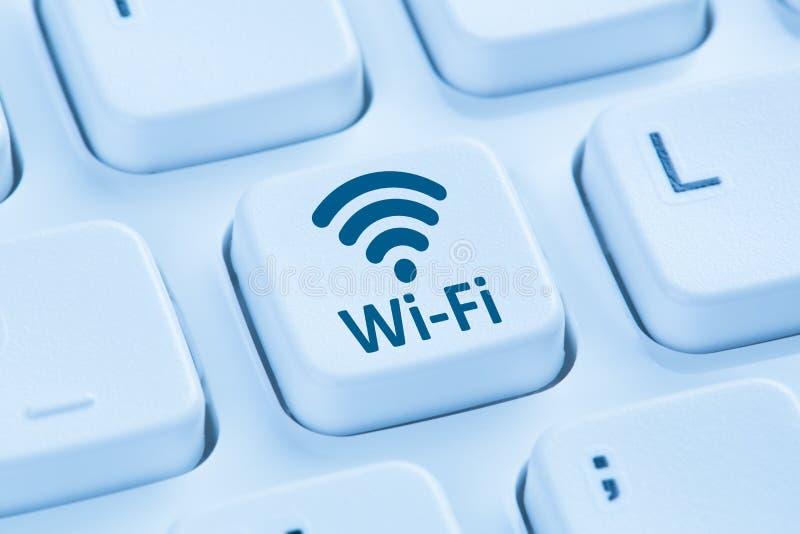 Tangentbord för dator för blått för internet för Wi-Fi WiFi hotspotanslutning royaltyfri fotografi