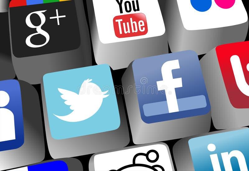 Tangentbord med sociala nätverksApp-tangenter royaltyfri illustrationer