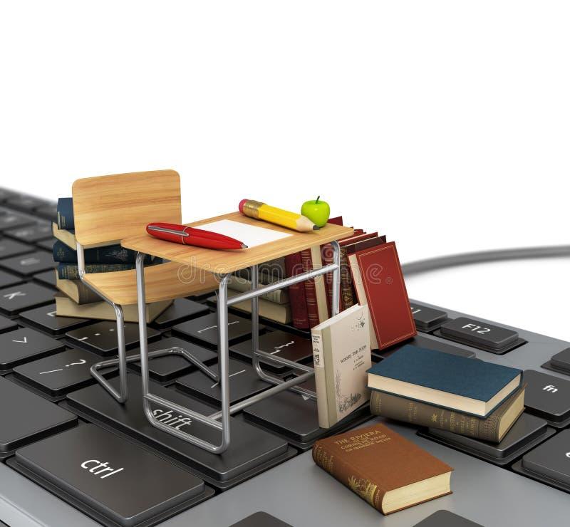 Tangentbord med stol, skrivbordet och böcker stock illustrationer