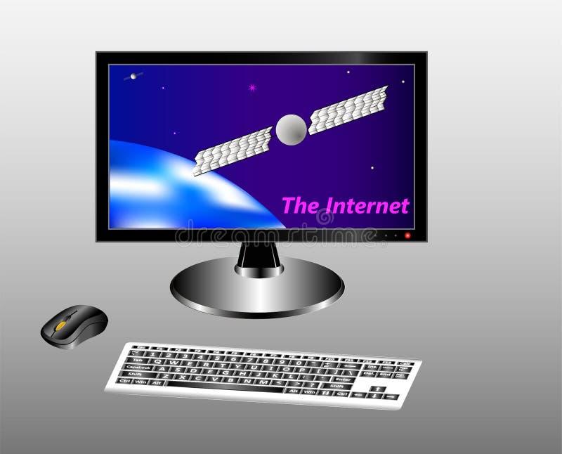 Tangentbord, mus och bildskärm med en stjärnklar himmel, jord och kommunikationssatellit royaltyfri illustrationer