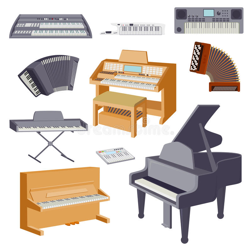 Tangentbordmusikinstrument som isoleras på den vita klassiska illustrationen för musikerutrustningvektor vektor illustrationer