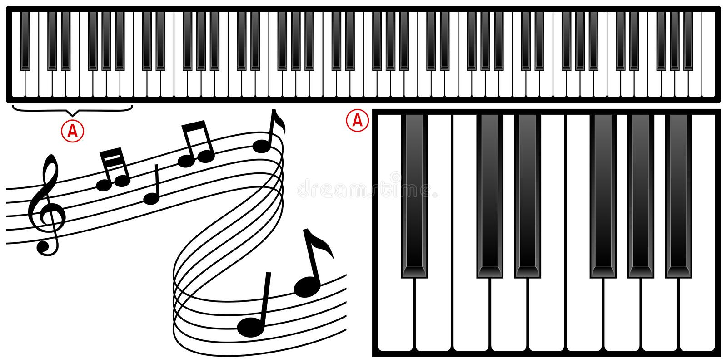 tangentbordpiano vektor illustrationer