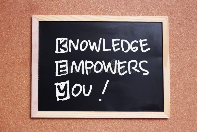 TANGENTEN kunskap bemyndigar dig, motivational inspirerande citationstecken för affär royaltyfria foton