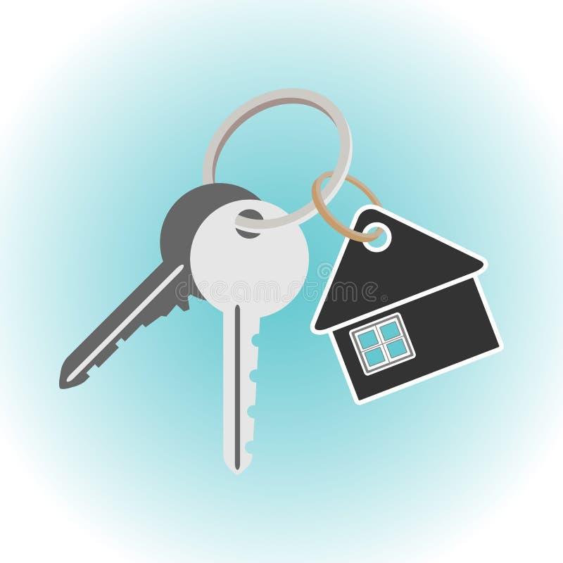 Tangenter med keychain Hus formad nyckel- hållare stock illustrationer