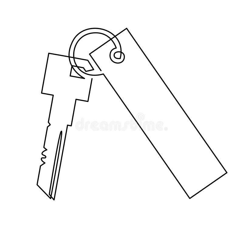 Tangenter med nyckelkedja Vektorillustration Ikon för dörrnycklar eller bilnycklar Utåtriktad isolerad silhuett Begreppet stock illustrationer