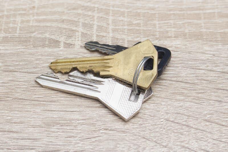 Tangenter och en nyckel- kedja på ett skrivbord royaltyfri foto