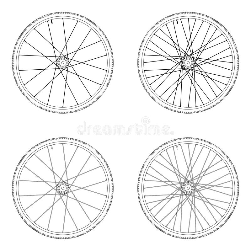 Tangentiell snöra åt modell för cykelekerhjul vektor illustrationer