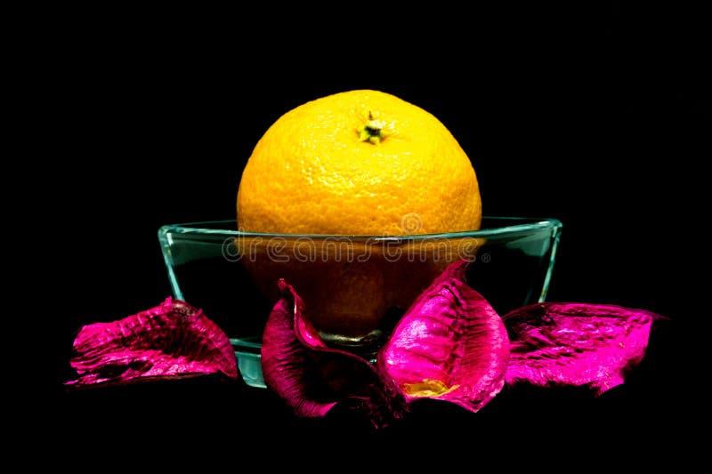 Tangerine на черной предпосылке, изоляте стоковое фото