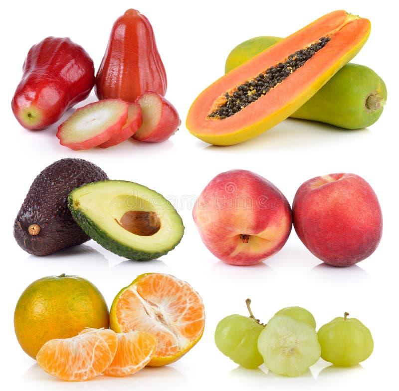 Tangerine, персик, авокадо, крыжовник звезды, папапайя, розовое яблоко стоковое фото rf