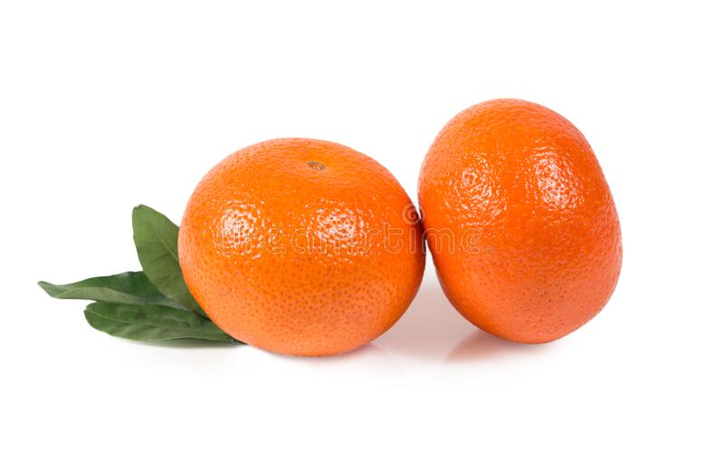 Tangerine, clementine with green leaves isolated clipping path royalty free stock image