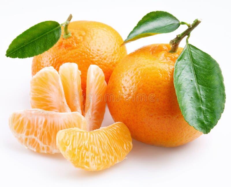 Tangerine com segmentos fotografia de stock