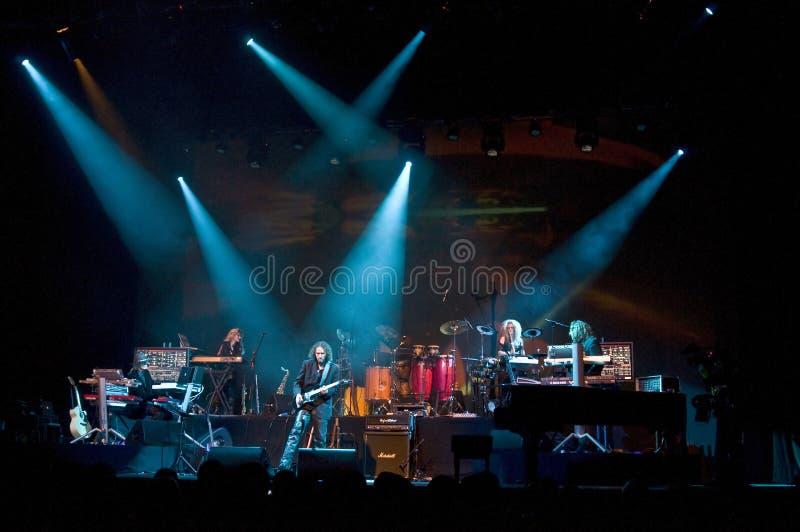 Tangerine Dream live. Tangerine Dream performing live the Zeitgeist concert in Coliseu Dos Recreios, Lisbon, Portugal. The Band: Edgar Froese, Linda Spa stock photo