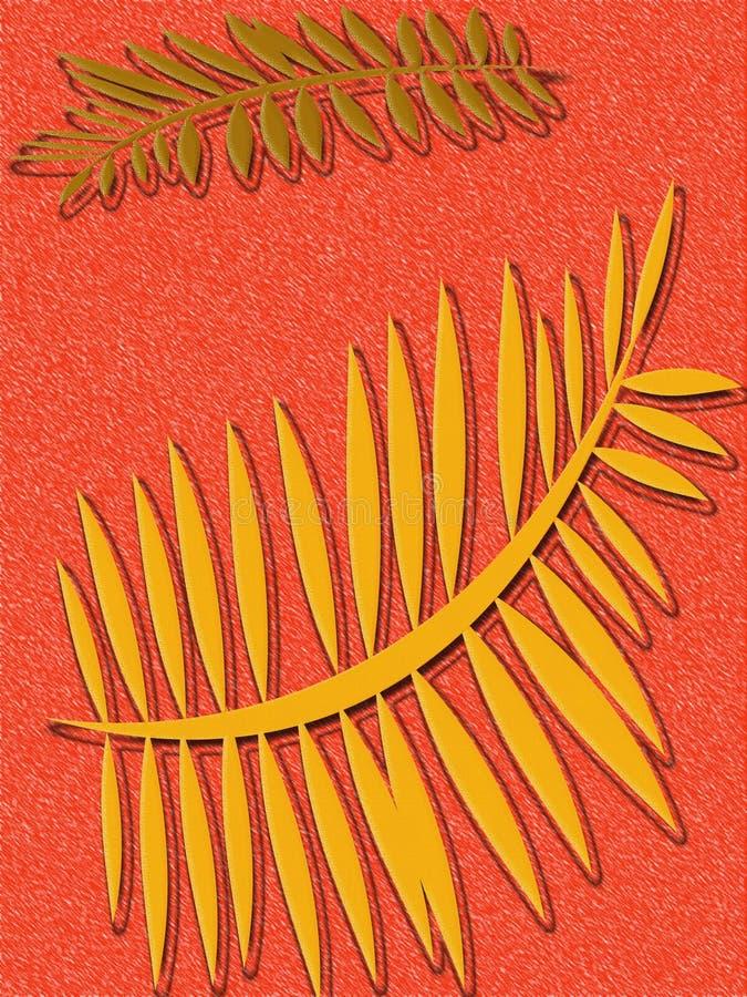 Tangerine Fern Background Stock Photo
