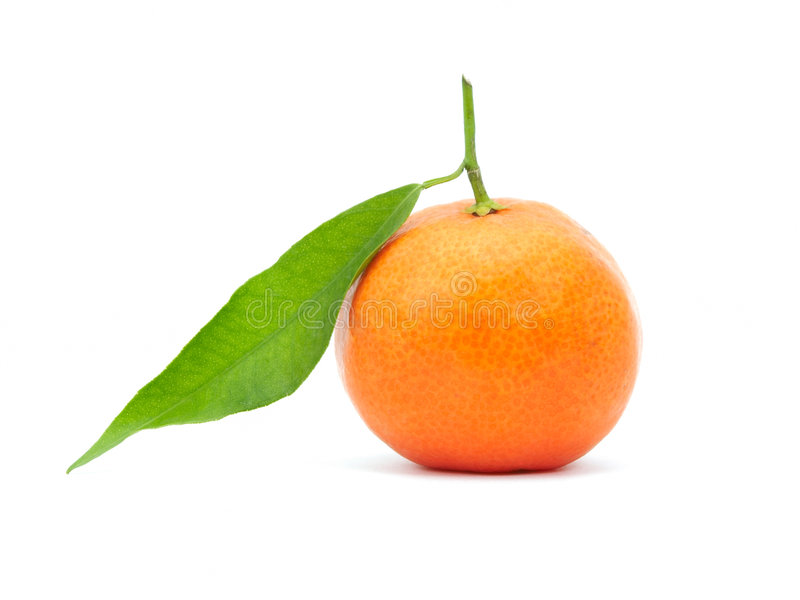 Tangerine with green leaf. Tangerine isolated on white background stock photo
