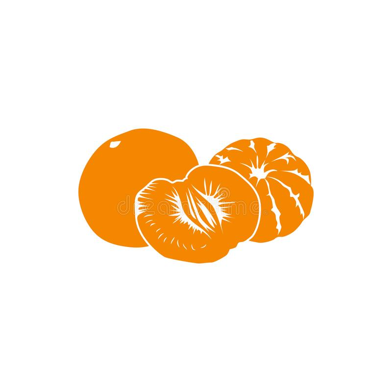 Tangerine icon, simple style. Two and half orange tangerines icon in simple style isolated on white background vector illustration