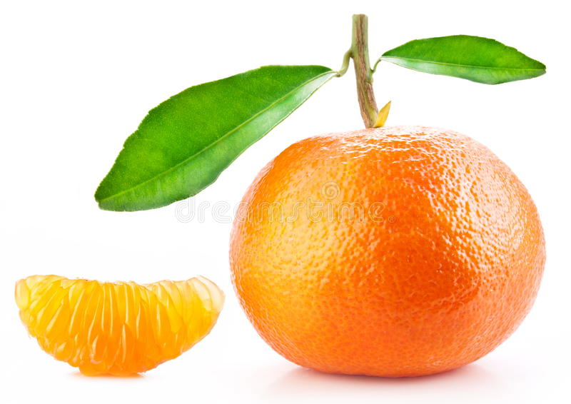 Tangerine with leaves. stock photos