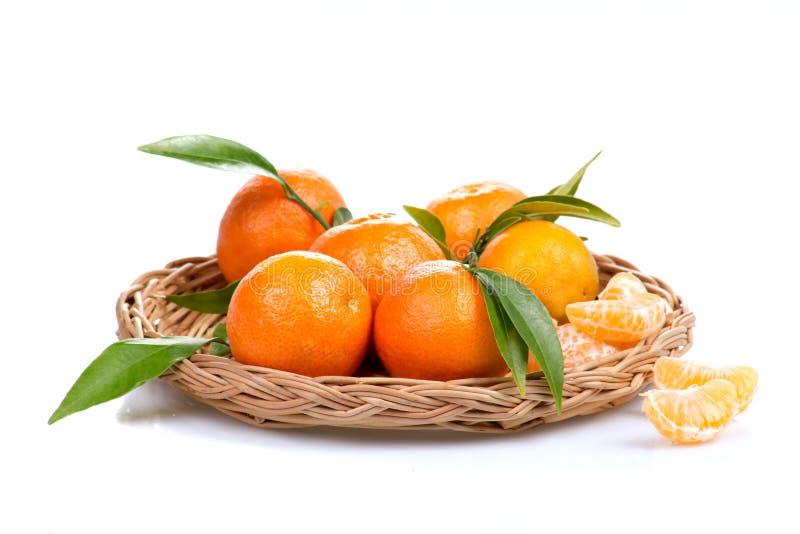 Tangerine lub mandarynki owoc odizolowywająca na białej tło wycinance zdjęcia stock