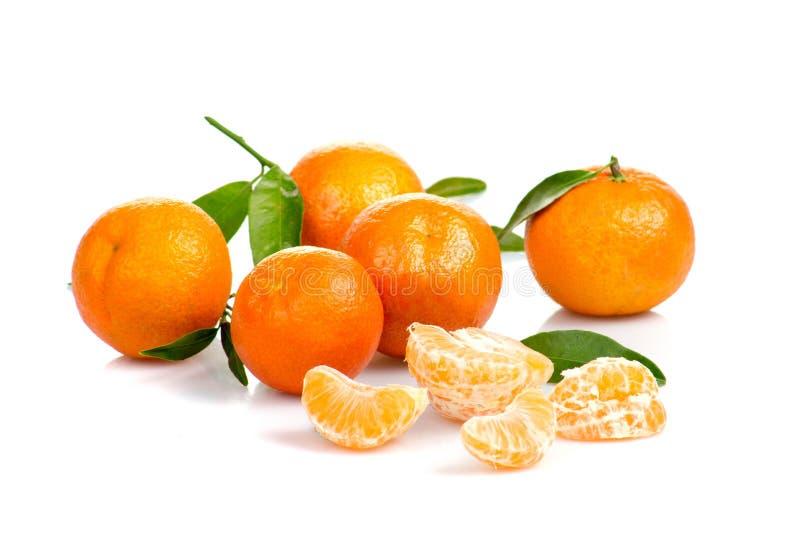 Tangerine lub mandarynki owoc odizolowywająca na białej tło wycinance zdjęcie stock
