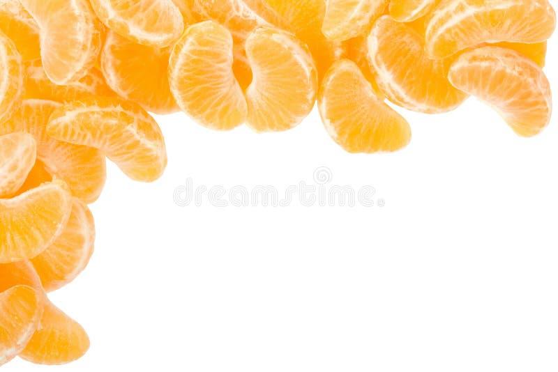 Tangerine or mandarin segments frame royalty free stock photo