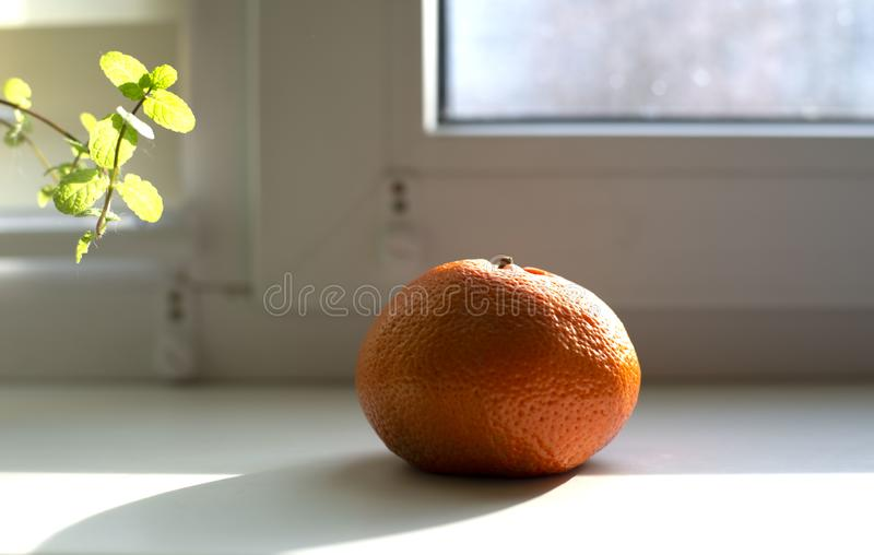 Tangerine na windowsill obrazy stock