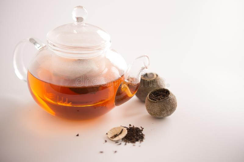 Tangerine puer tea. Close up studio shot of tangerine puer tea on white background, and this can be used as health care elements stock image