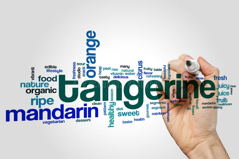 Tangerine word cloud. Concept on grey background stock photography